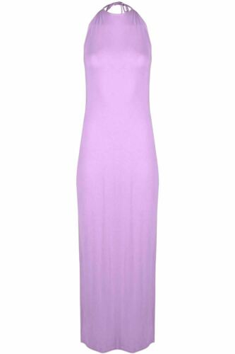 Womens Long Backless Stretchy Party Summer Ladies High Halter Neck Maxi Dress