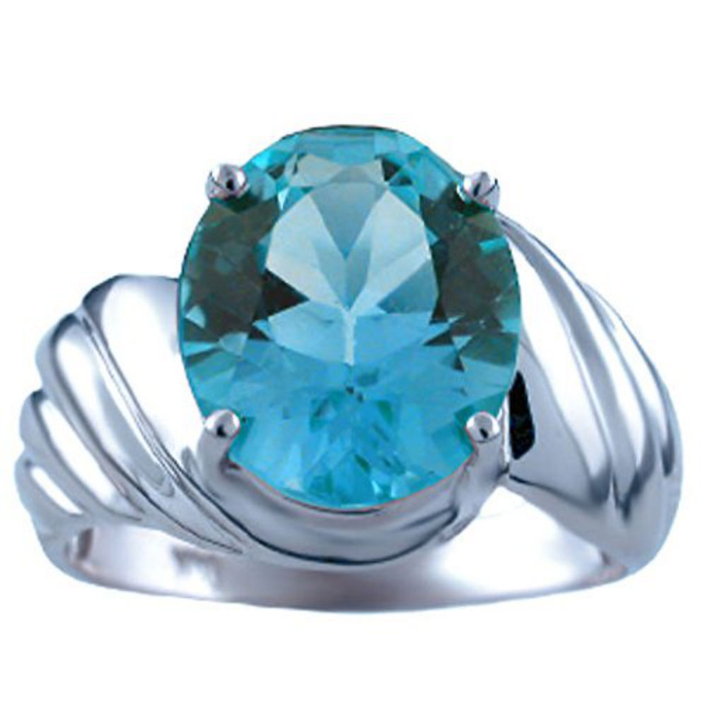 bluee Topaz Ring (December Birthstone) 14K White gold