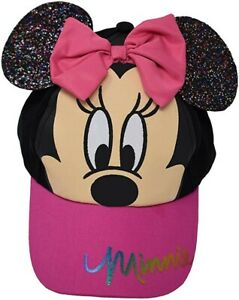 NWT Disney Mickey Minnie Mouse 3D Bow Toddler Girls Baseball Cap Hat Pink Hearts