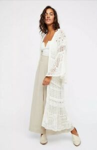 NEW-Free-People-Dream-Catcher-Kimono-Crochet-Cardigan-Sweater-Duster-Size-XS-S