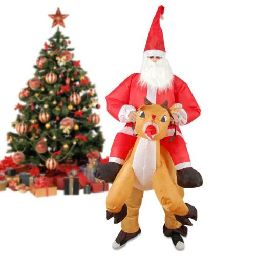 Christmas Inflatable Santa Claus Costume Reindeer Mount Party Suit Waterproof