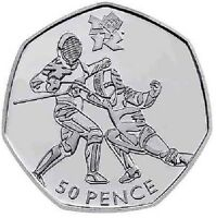 LONDON SUMMER OLYMPIC 2012 11/29 FENCING 50P COIN 2011 FIFTY PENCE SWORD FIGHT @