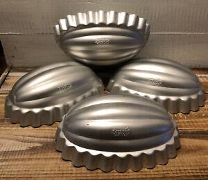 Lot 4 Vintage Mirro Aluminum Jello Cake Salad Mold Melon Pumpkin Oval Shape