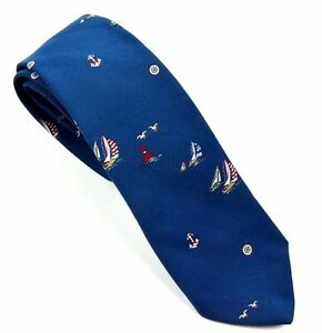 Bench-Mark-Men-039-s-Blue-Nautical-Anchors-amp-Ships-Wheels-Sailing-Birds-Necktie-Tie