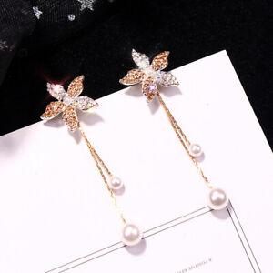 2019-Fashion-Women-Crystal-Flower-Pearl-Earrings-Ear-Stud-Dangle-Earring-Jewelry