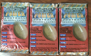 1993-Pro-Set-Football-POWER-Update-3-factory-sealed-packs-Checklist-inside