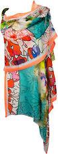 SommerSchal Baumwolle Seide Multicolor türkis neon Digitataldruck scarf cotton