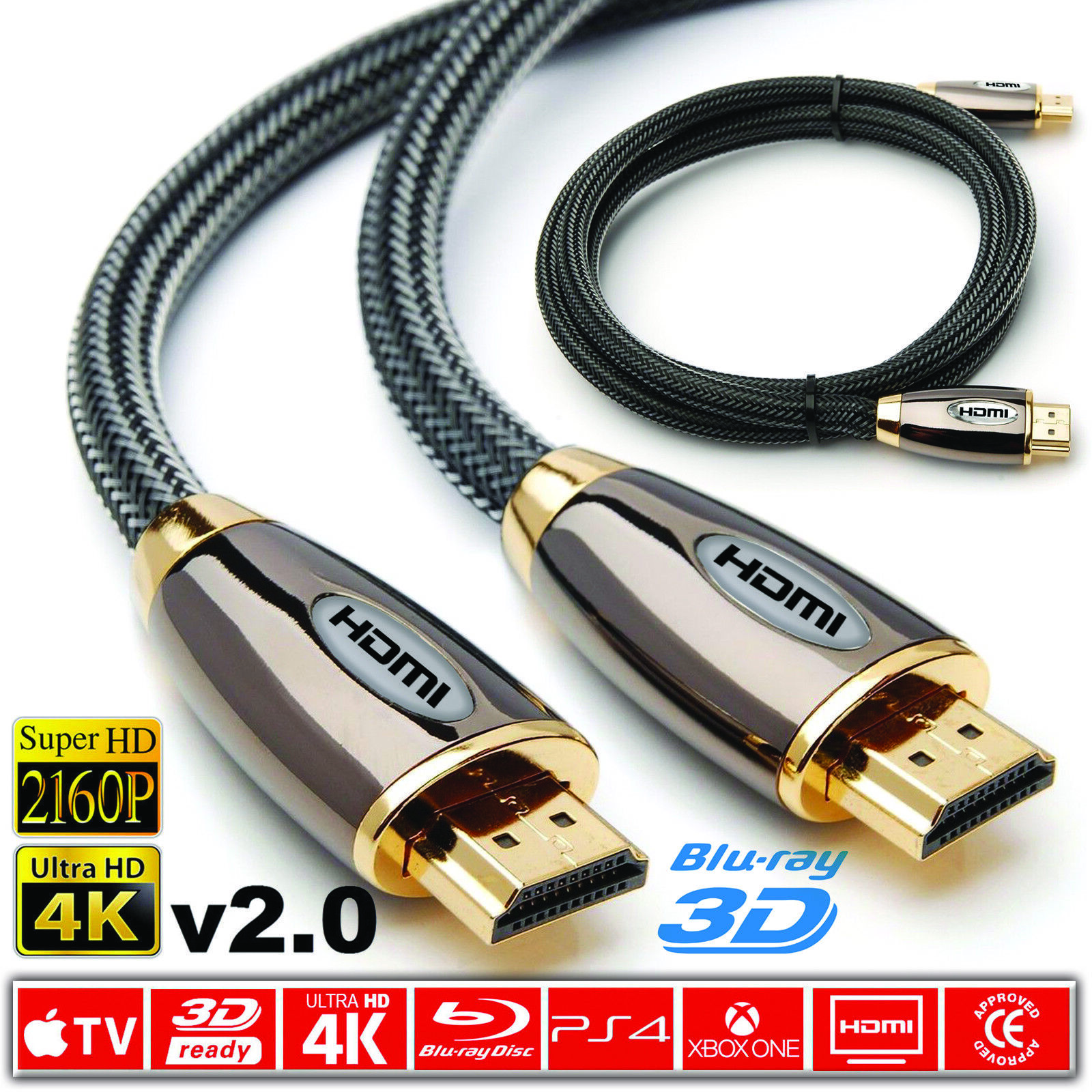 Premium HDMI Cable V2.0 2160P HDTV Video Lead 3D Full HD 4K 1M 2M 3M 10M 15M Lot