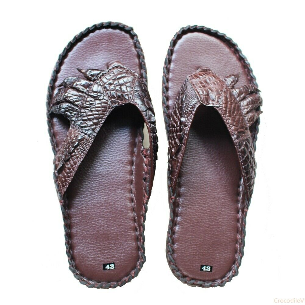 Mens Flip-flop Genuine Crocodile Alligator Skin Leather Handmade, Dark Brown