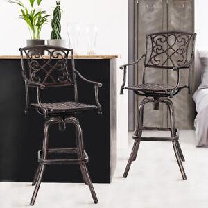 Details About Set Of 2 Cast Aluminum Swivel Bar Stool Patio Furniture  Antique Copper Outdoor