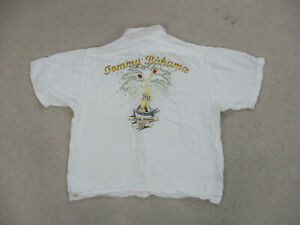 Tommy-Bahama-Button-Up-Shirt-Adult-Large-White-Yellow-Happy-Holidays-Mens