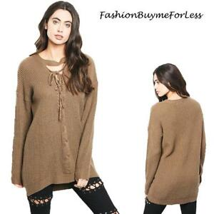 Haute BOHO Brown Gothic Oversized Ribbed Knit Sexy Lace up Sweater ... e6b47578d