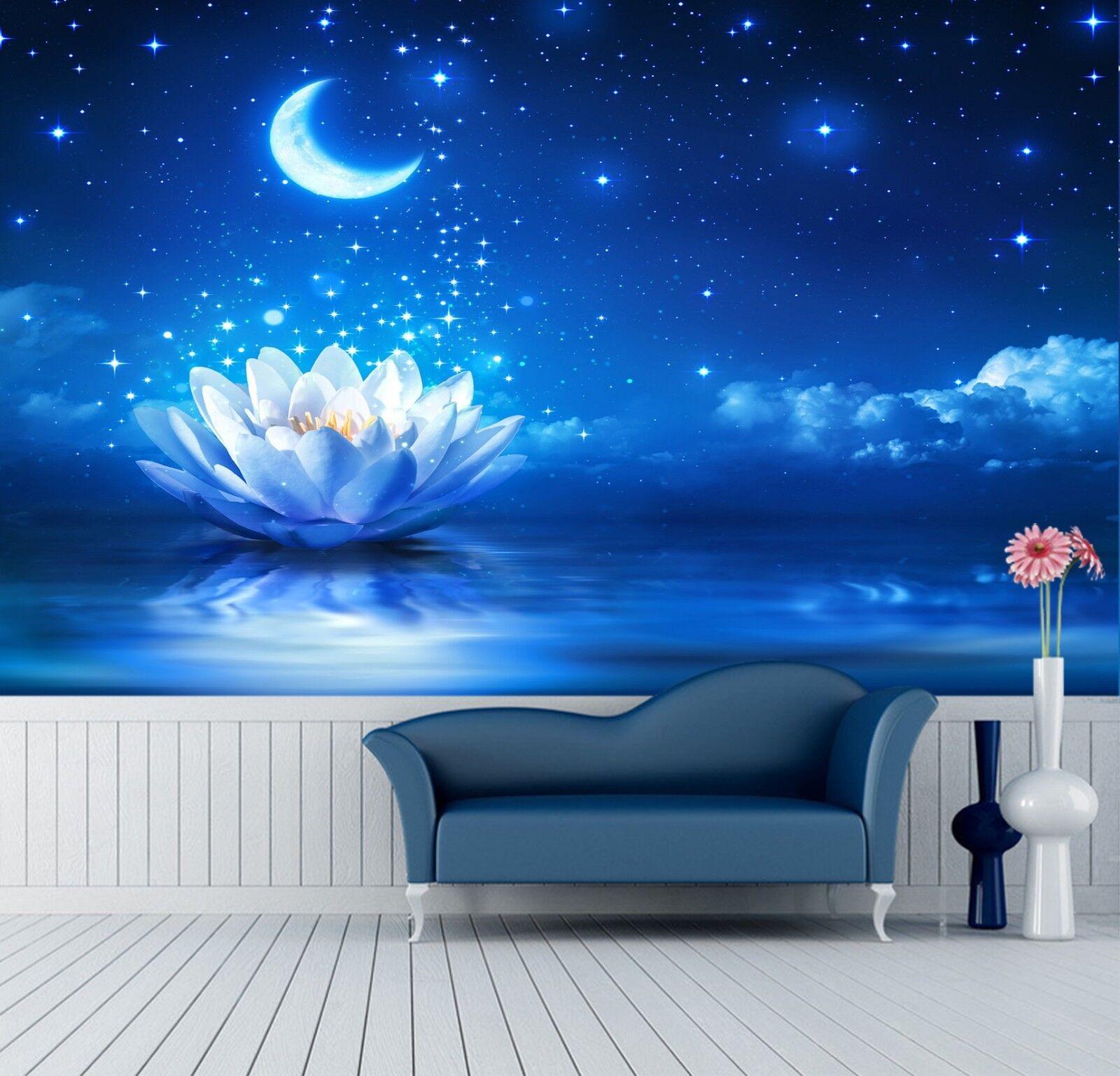 3D Moon Lotus 7250 Wallpaper Mural Wall Print Wall Wallpaper Murals US Lemon