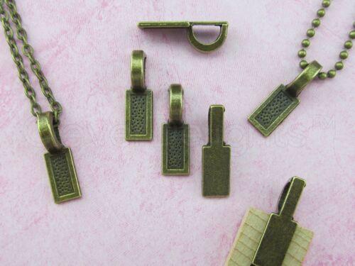 """Large Glue On Bails 1/"""" x 5//16/"""" 25 Tag Bails 25x8mm Antique Bronze Color"""