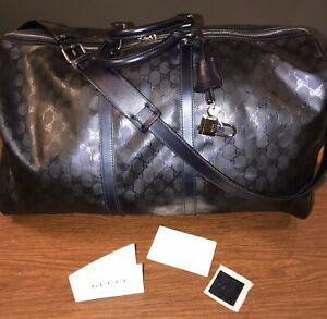 Gucci Gg Imprime Boston Duffle Bag Blue