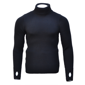 Roll Turtle Neck Jumper 100/% Merino Wool FITTED Submariner Sweater in Black