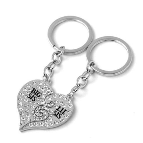Heart Shaped Key Ring Keychain Big Sis Little Lil Sis Best Friends Keychains