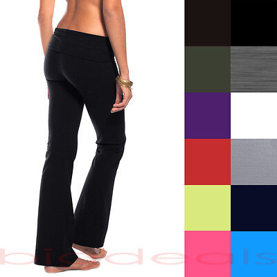 Slim Rolldown Yoga Pants Flare Boot Leg Cut Foldover Stretch Bottom Lounge 112