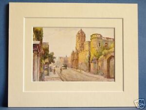 CHRIST-CHURCH-AND-TRAM-OXFORD-VINTAGE-DOUBLE-MOUNTED-HASLEHUST-PRINT-10X8-c1930