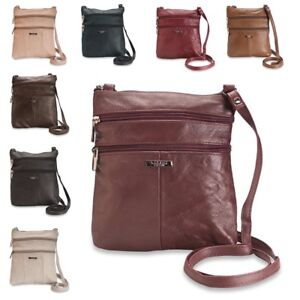 ce83f51294 Ladies Real Genuine Leather Cross Body Bag with 5 Zipped Pockets by ...