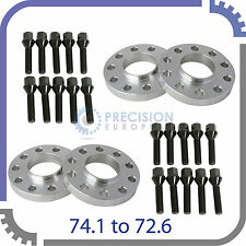 (4) 15mm Hubcentric E39 Wheel Spacers (74.1mm to 72.6mm) + 20 Extended Bolts