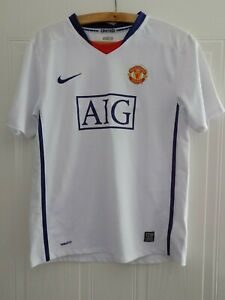 2008 2009 NIKE MANCHESTER UNITED FOOTBALL CLUB SOCCER JERSEY SHIRT AWAY WHITE