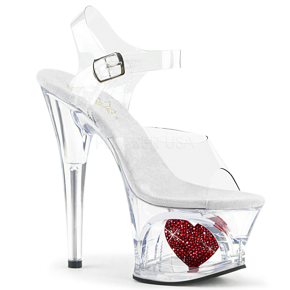PLEASER Sexy 7  Heel Rhinestone Heart Cutout Platform Stripper Clear Women shoes