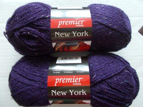 328 yds each Premier New York sparkly fashion yarn lot of 2 Purple