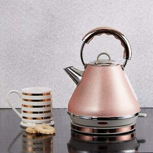 Dunelm-Bling-1-7L-Cordless-Electric-Pyramid-Kettle-3000W-Rose-Gold-B