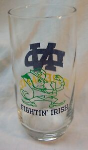 VINTAGE-UNIVERSITY-OF-NOTRE-DAME-FIGHTIN-039-IRISH-FOOTBALL-Collector-039-s-GLASS-CUP