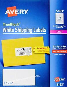 avery 5163 white shipping mailing labels laser trueblock technology