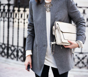 14b0eb43b4d3dc Image is loading NEW-ZARA-GREY-PINSTRIPE-STRIPED-PRINT-STRUCTURED-JACKET-