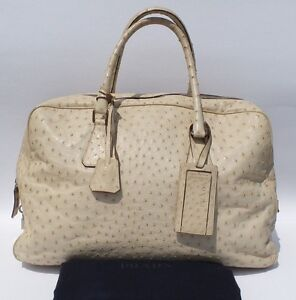 ce92c556b005 PRADA Cream Beige Ostrich Leather Zip Top Duffel Bag Overnight Tote ...