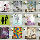 Waterproof Polyester Fabric Bathroom Shower Curtain Sheer Panel Decor+ Hooks