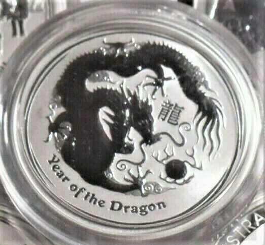 (2012)  1/2 OZ Australian Dragon Lunar .999  silver coin .