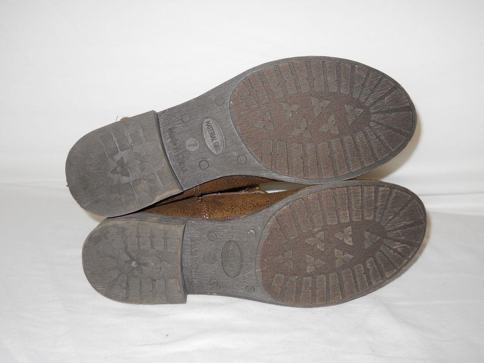 Material Girl New Womens Flip Macy's Brown Bootie Boot 9 M Shoe NWOB