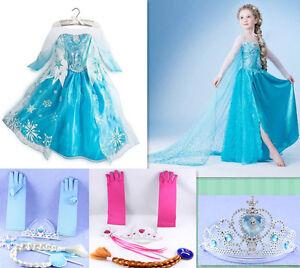 Eiskonigin-Madchen-Frozen-Elsa-Anna-PerlenTull-Kleid-Kostum-Krone-Party-Karneval