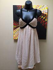 Glam! H&M Nude/ Natural color blk beaded straps empire waist Women's Sz 6 dress