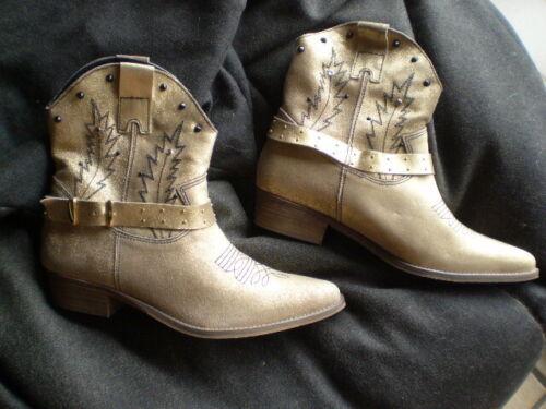 Western botas/westernstiefelette talla 39 en oro de cuero con pespuntes Portugal