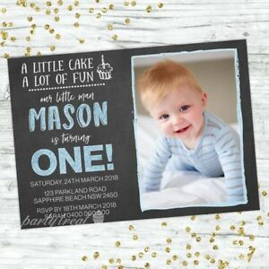Image Is Loading BOYS 1ST BIRTHDAY INVITATIONS FIRST PARTY CHALK