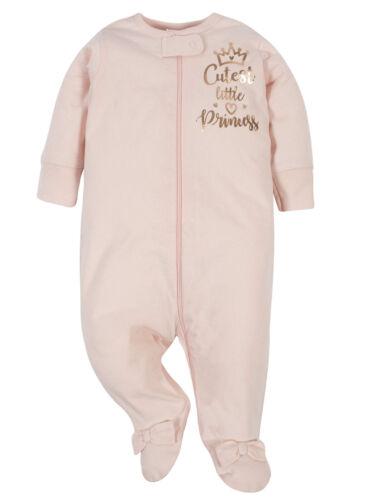 Gerber Baby Girls 2 Pack Organic Cotton Sleep N Plays Various Sizes Crown,Floral
