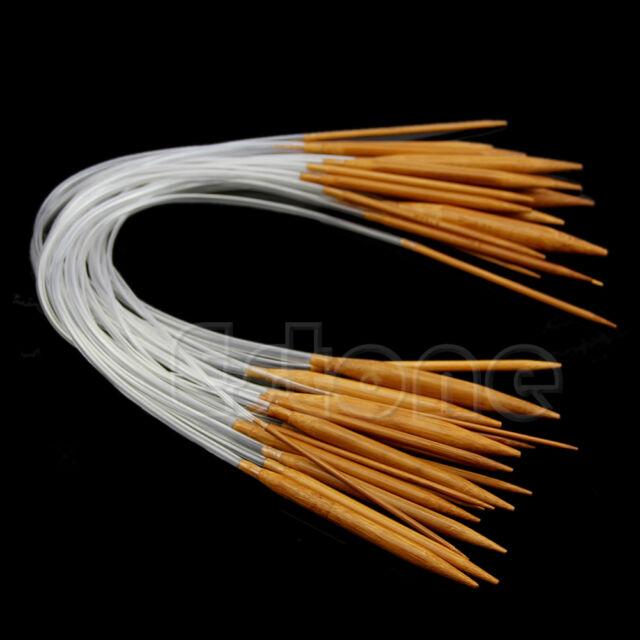 "New 18Pairs Smooth Nature 16"" Circular Bamboo Carbonized Knitting Needles Set"