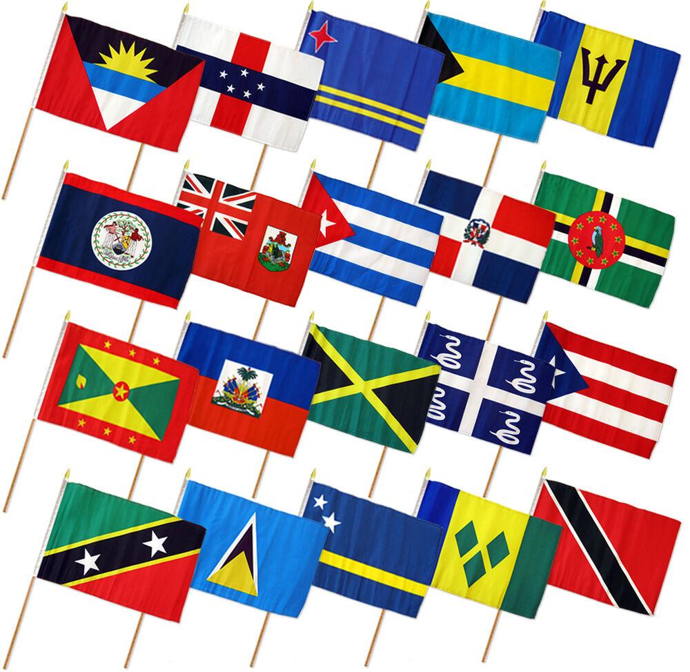 12x18 12 x18    Set of 20 Caribbean Countries Stick Flag wood Staff c33541