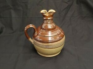 BIG-BROWN-BETTY-STYLE-STUDIO-ART-POTTERY-SIGNED-PAIGE-OIL-LAMP-PITCHER-7-5-034-TALL