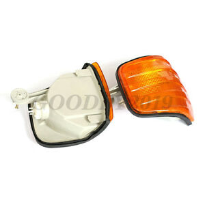 PAIR  AMBER CORNER LIGHT SMOKE EURO STYLE for 81-91 MERCEDES S CLASS W126 4D