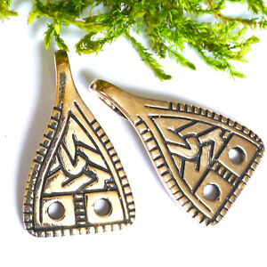 2 Stück Wadenwickelhaken Bronze Wikinger Gewandhaken Verschluss Fundort List
