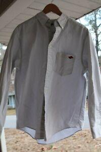 Arkansas-Razorbacks-M-Dress-Shirt-Mens-College-Long-Sleeve-Gray-White-Stripes