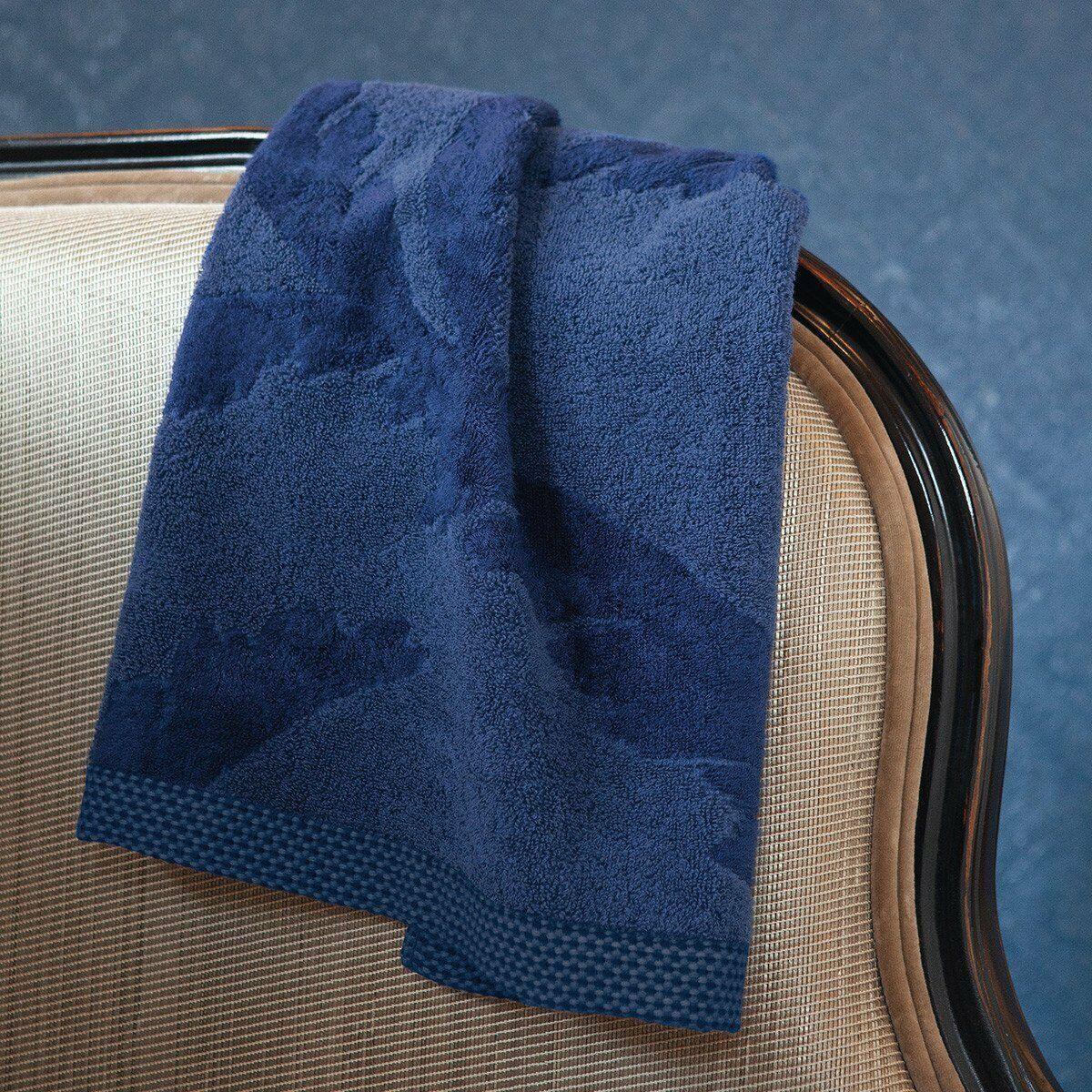 FRANCE YVES DELORME PALMIO SAPPHIRE Blau BATH TOWEL IN FLORAL DESIGN