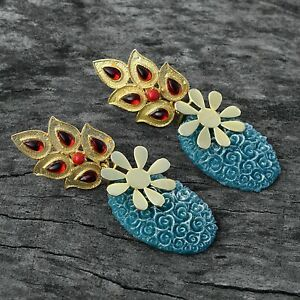 Woman-Fashion-Style-Synthetic-Gemstone-Drop-Dangle-Earring-Gold-Plated-Jewelry
