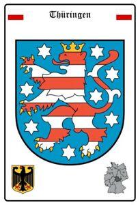 Thuringia-Alemania-Escudo-Letrero-de-Metal-Arqueado-Cartel-Lata-20-X-30CM